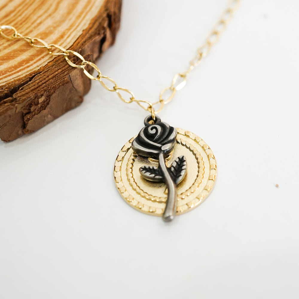 Black Rose Necklace - Stainless Steel 18K Gold-filled - Love Necklace for Valentine
