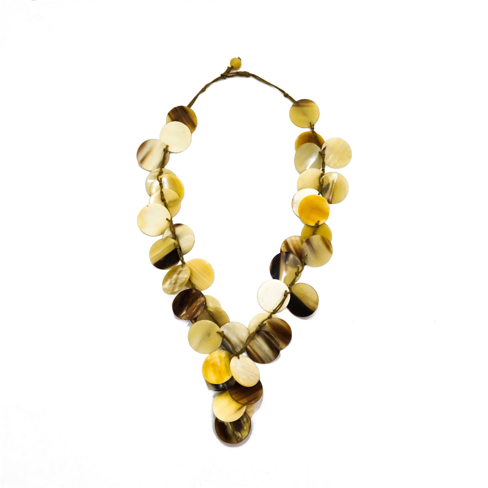 Unique Natural Buffalo Horn Necklace with Green Cord - Assembled by Vietnamese Artisans