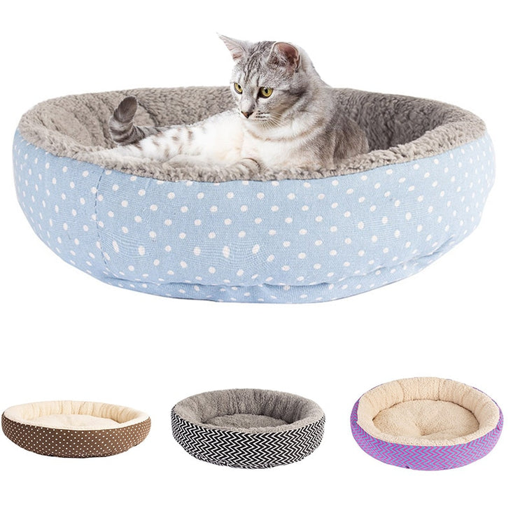 Warm Round Bed Fodable Cat Bed