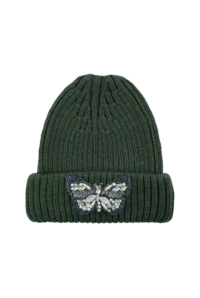 Combat Green hand embellished butterfly merino wool beanie