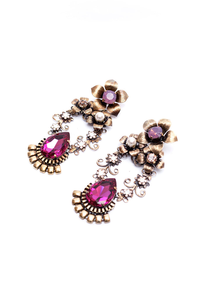 Pink crystal and gold flower vintage retro earrings