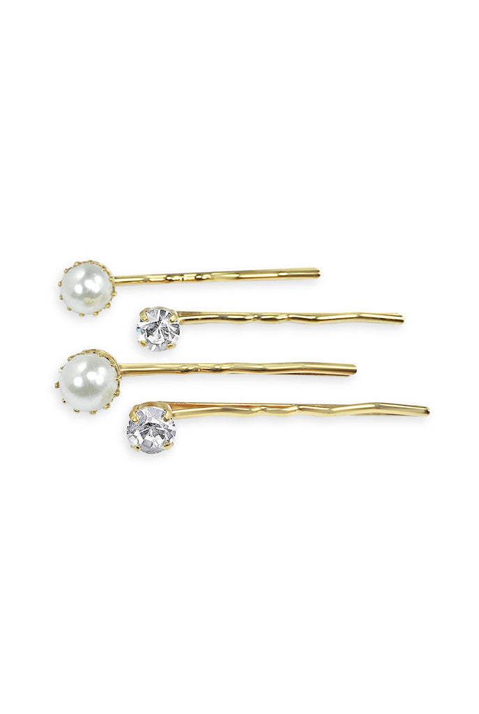 Set of four bobby pins two pearl, two crystal