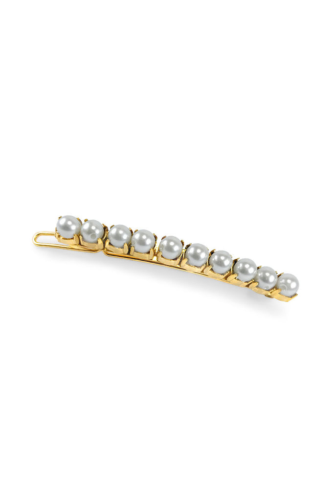 Small pearl strip hair barrette