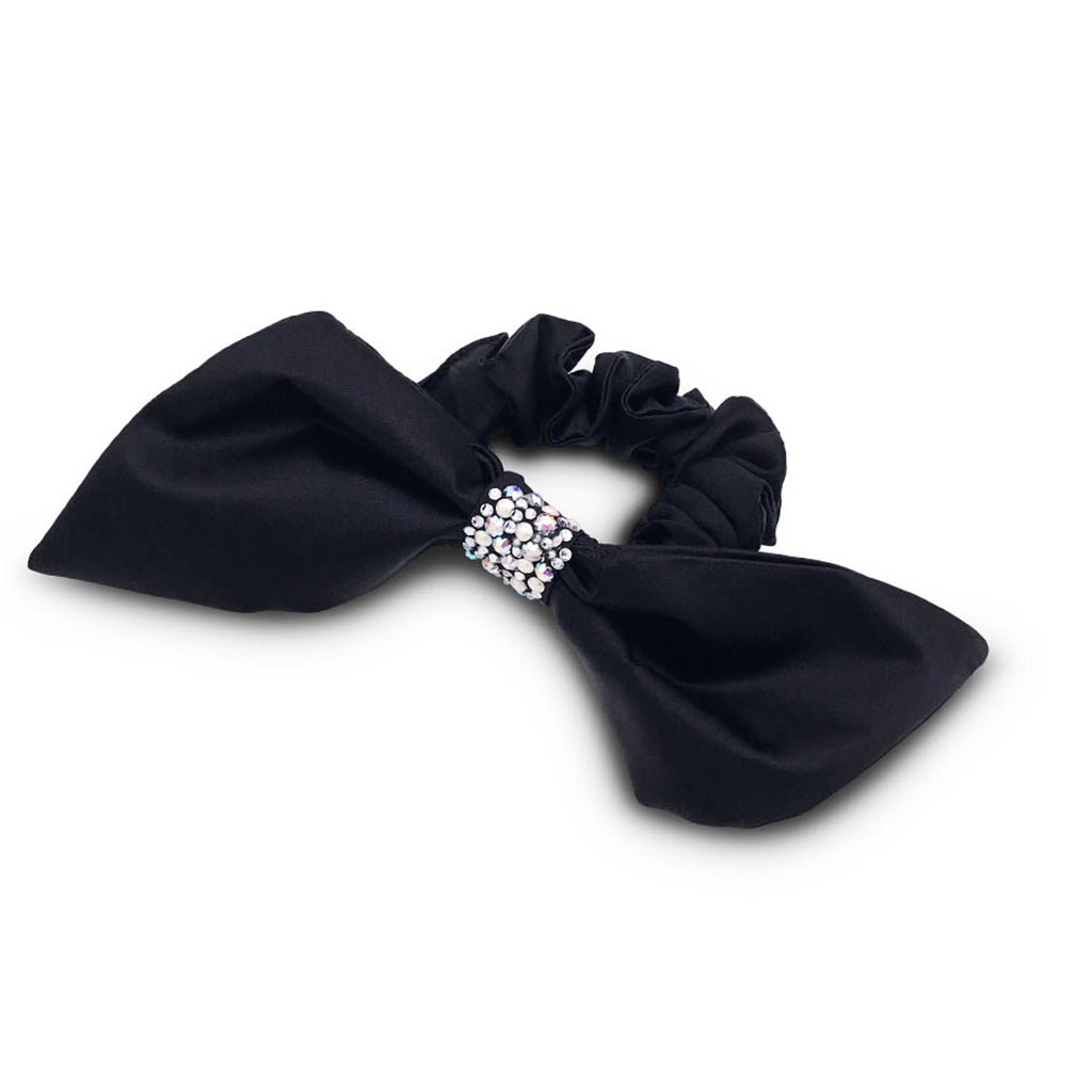 Silk hair bow scrunchie in colour black