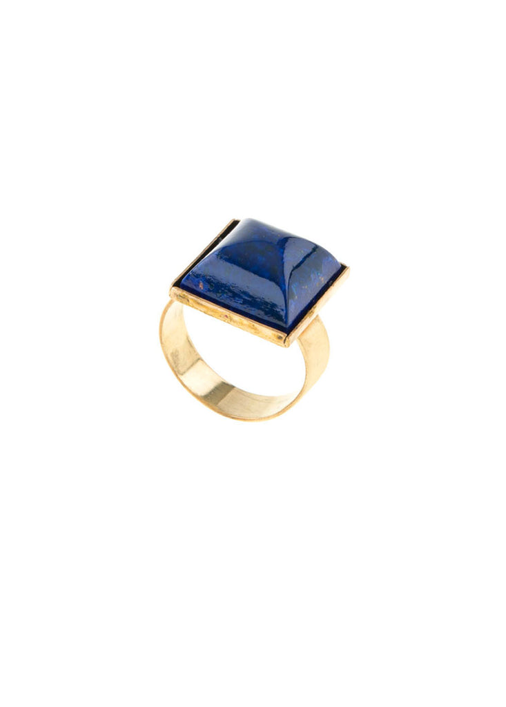 Blue gem ring in gold plate