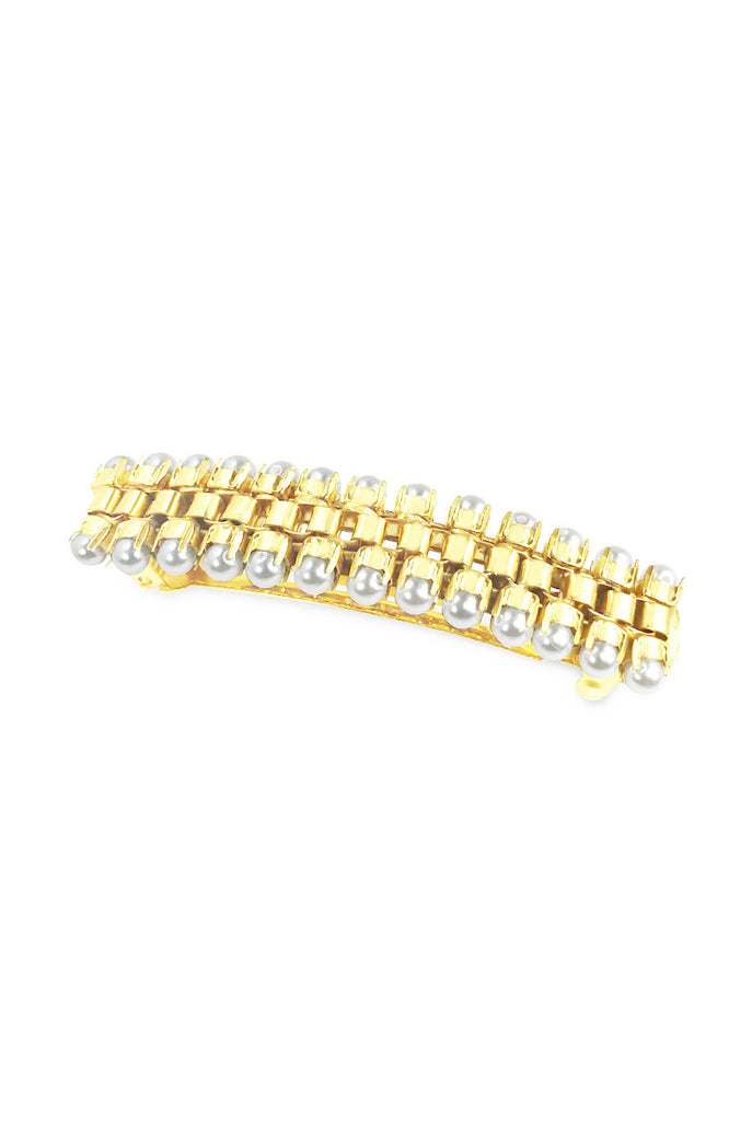 Box chain and pearl hair barrette