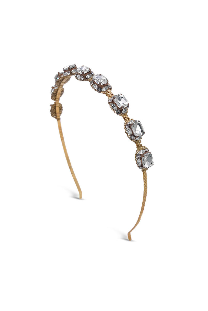 Crystal embellished headband in gold