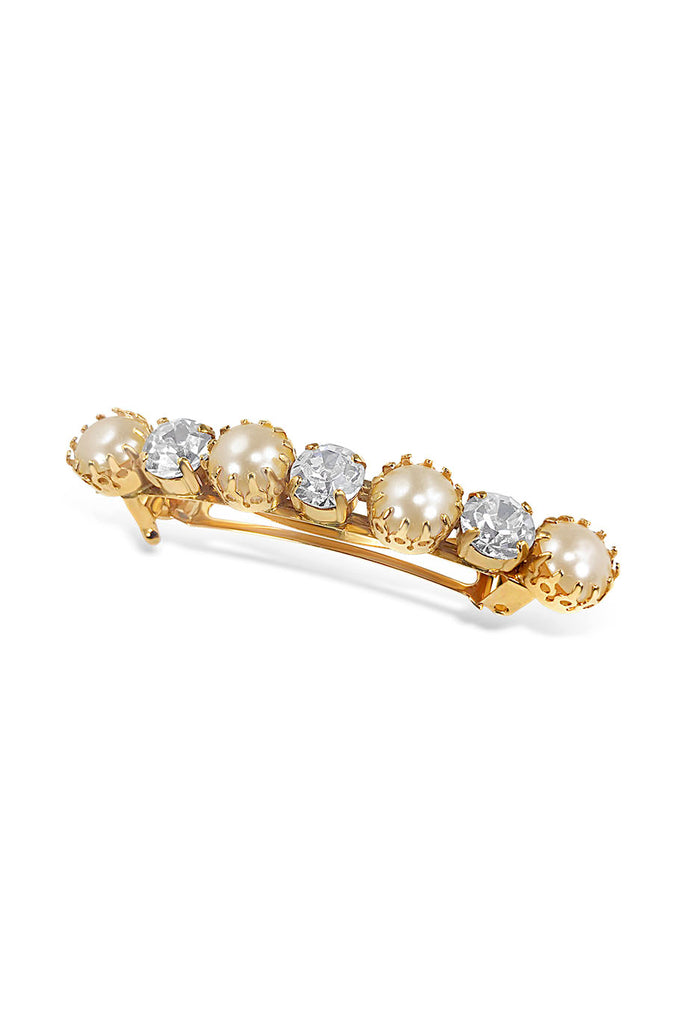 Medium sized pearl and crystal hair barrette