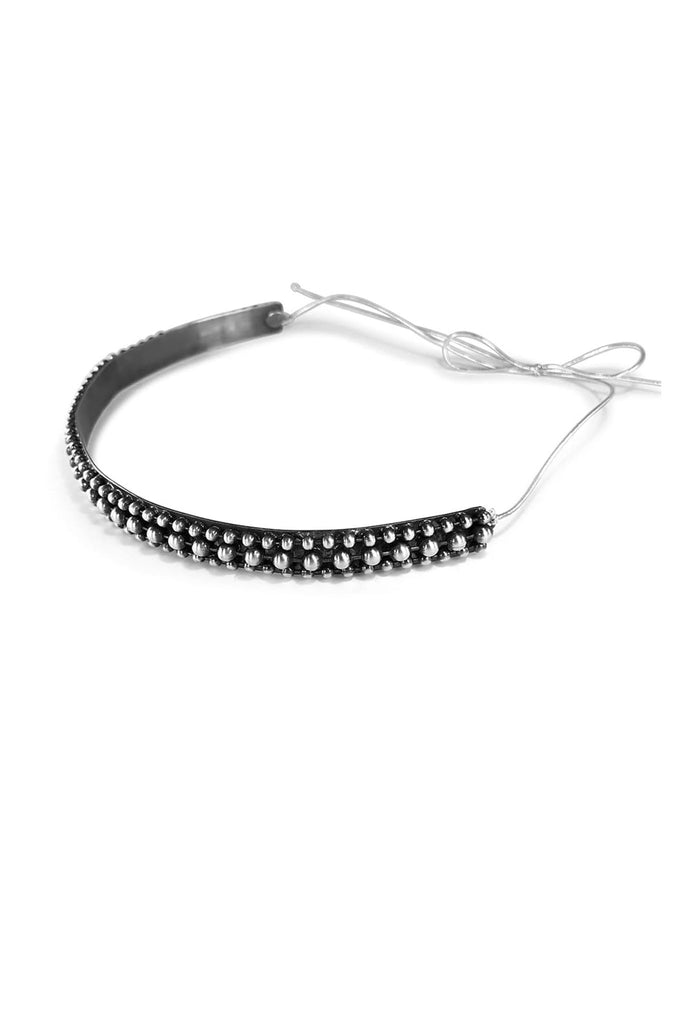 Slim modern oxidised silver headband