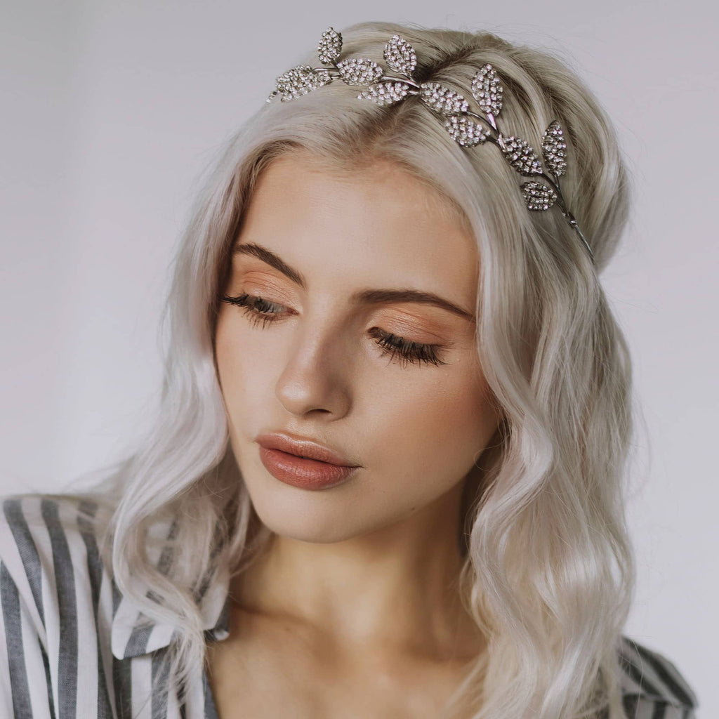 Diamontee leaf headpiece