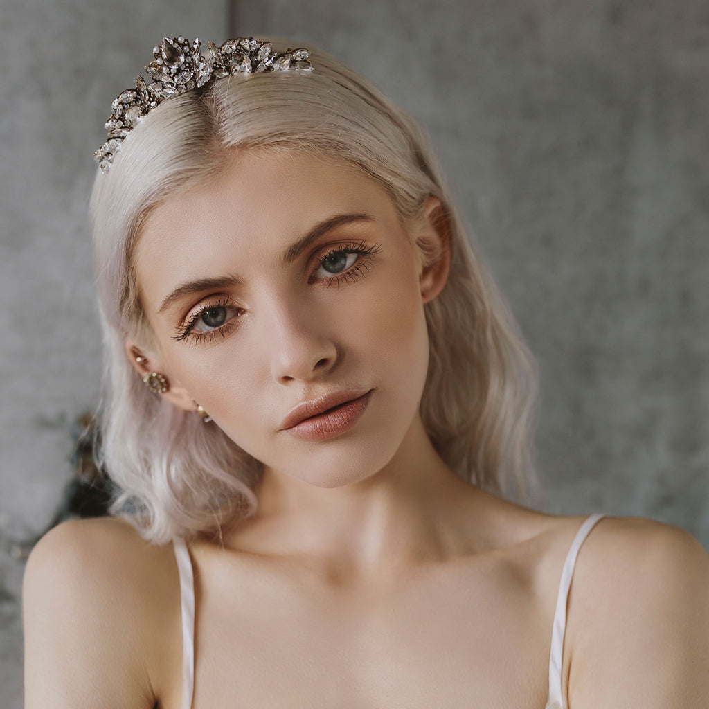 delicate pearl and crystal bridal tiara