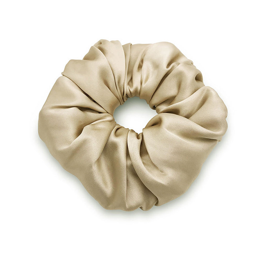 Oversized silk satin scrunchie in colour sand