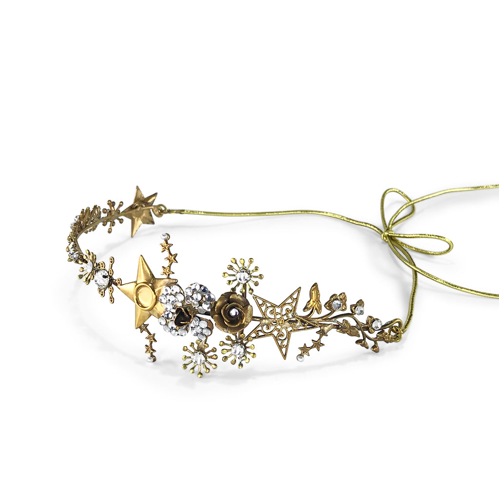 headpiece with stars and crystals