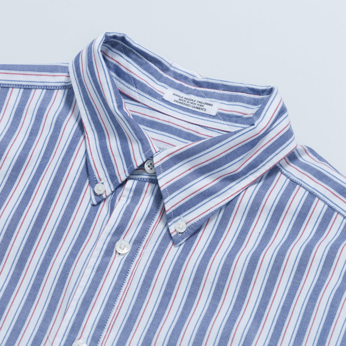 19 Century BD Shirt - White Blue Red Oxford Regimental Stripe - Up There