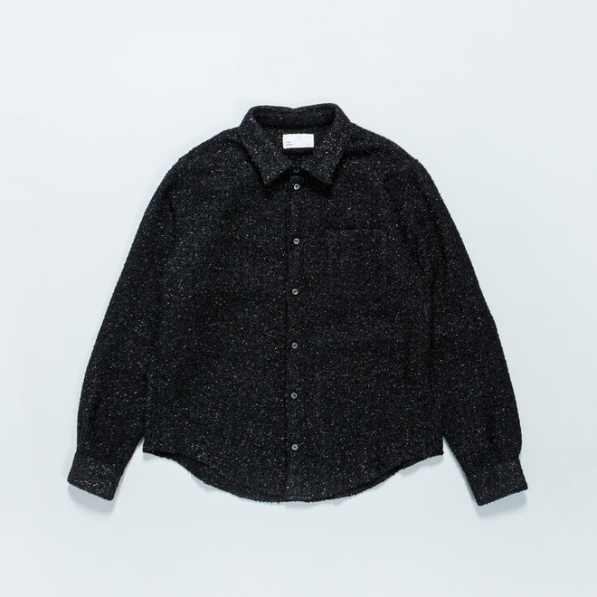 4SDesigns - BD Over Shirt - Black Cotton Wool Lurex Tweed - Up There