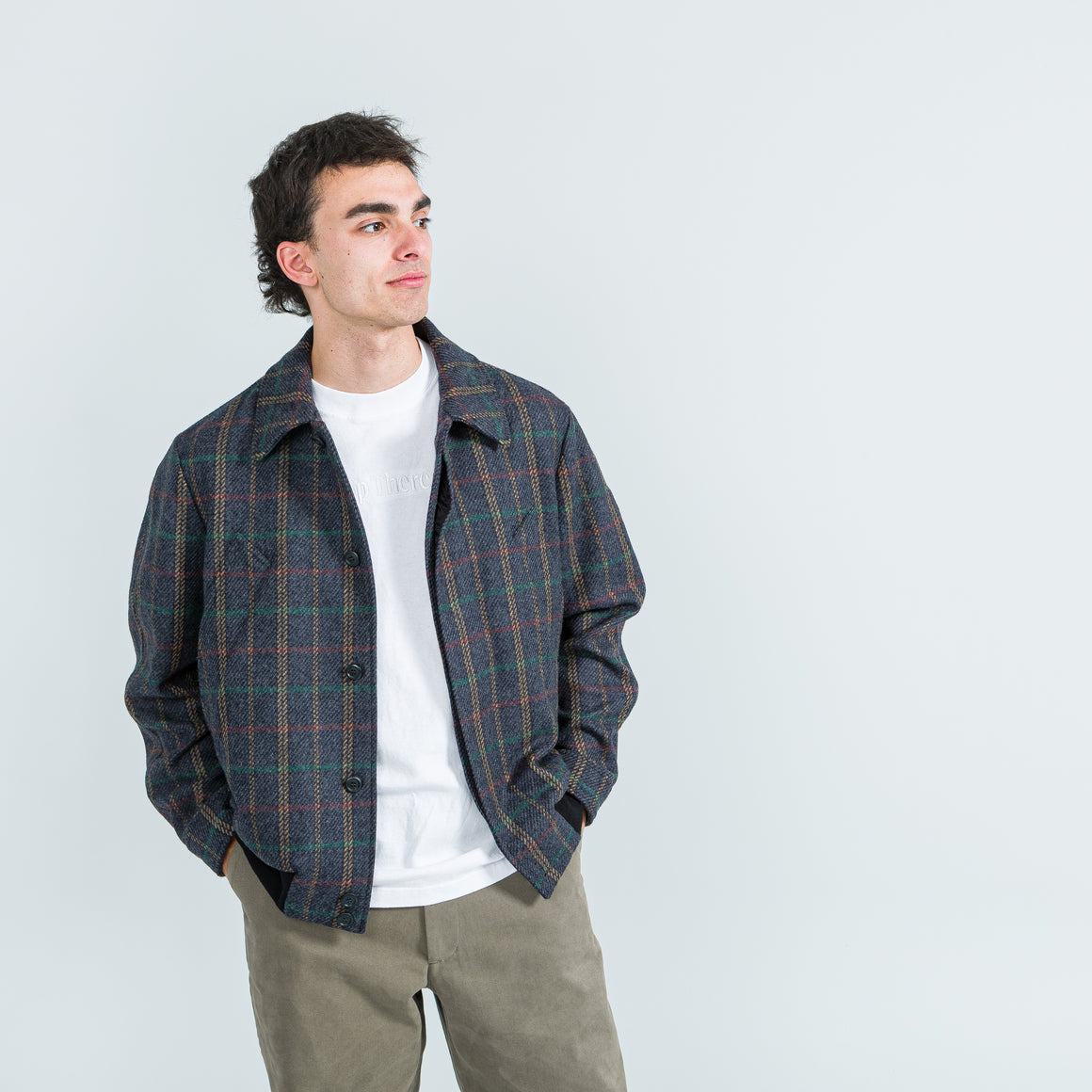 4SDesigns - Raglan Bomber - Blue Multicolour Plaid Melton - Up There