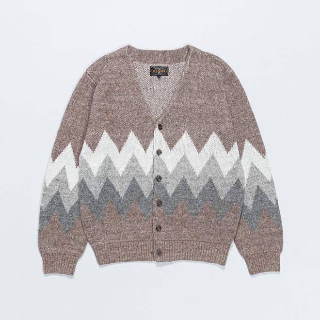Beams Plus - Jacquard Cardigan - Brown - Up There