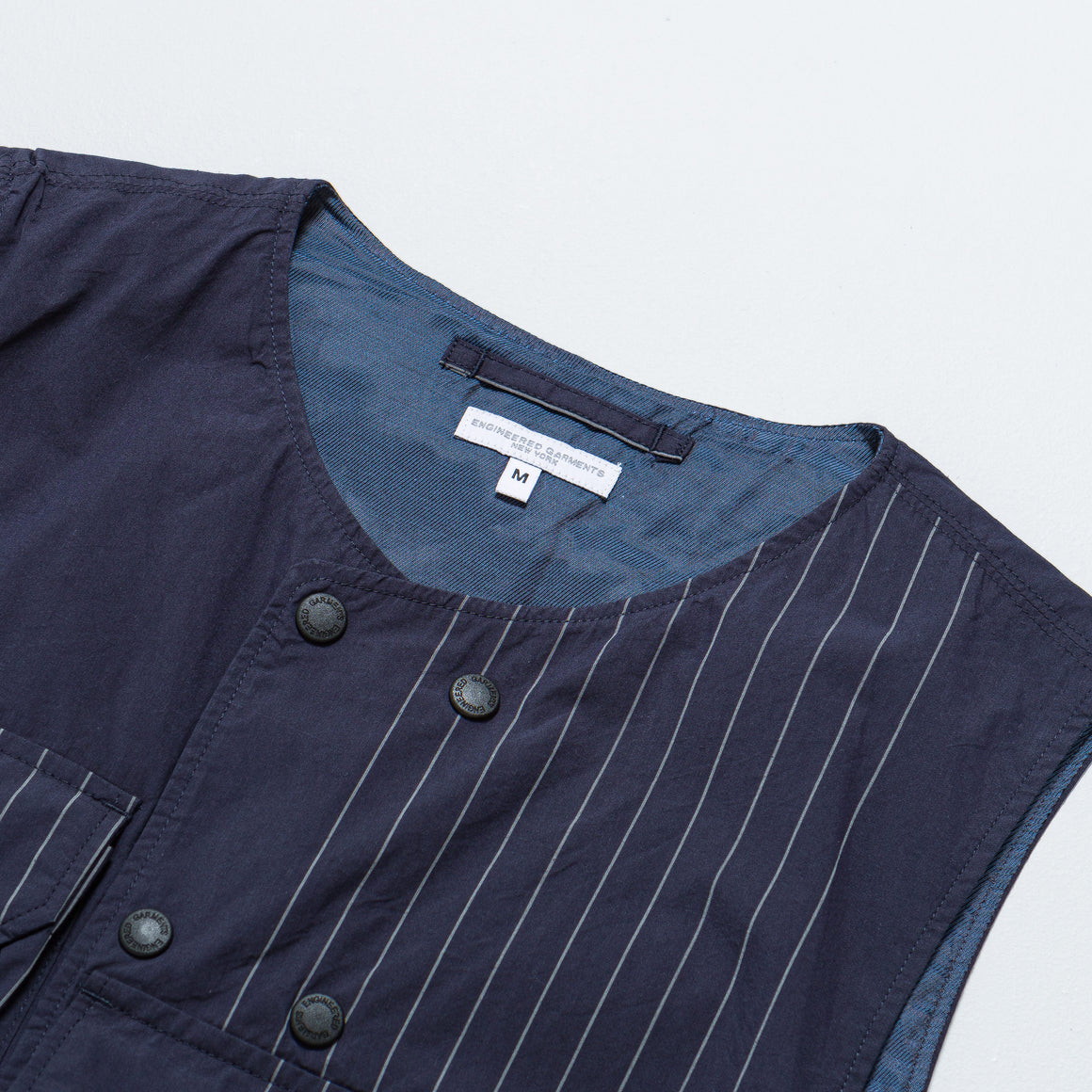 Engineered Garments - Cover Vest - Dark Navy Nyco Gangster Stripe - Up There