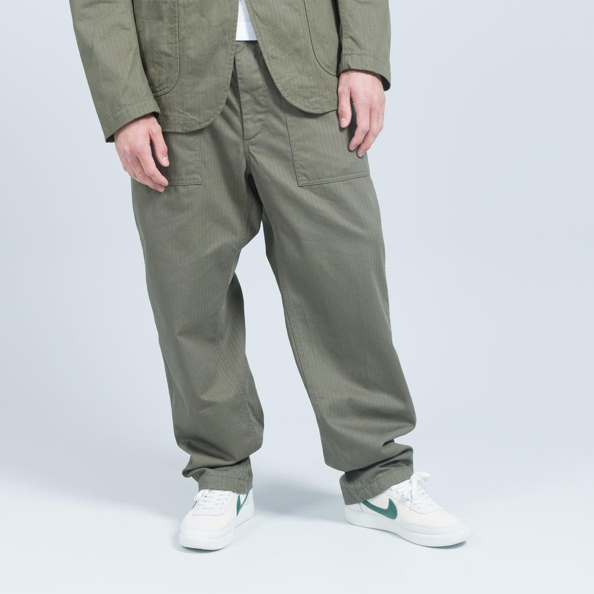 Engineered Garments - Fatigue Pant - Olive Cotton Herringbone Twill - Up There