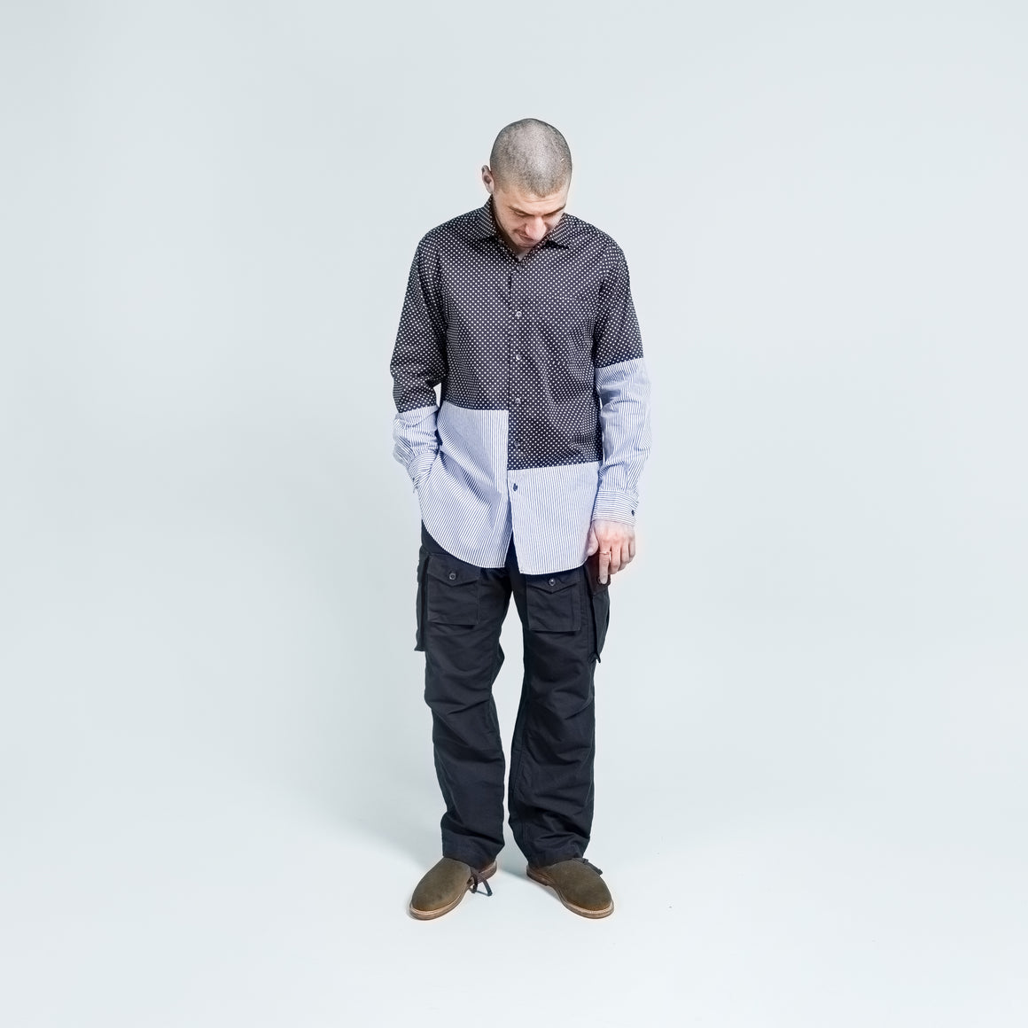 Engineered Garments - Spread Collar Shirt - Navy Cotton Big Polka - Up There