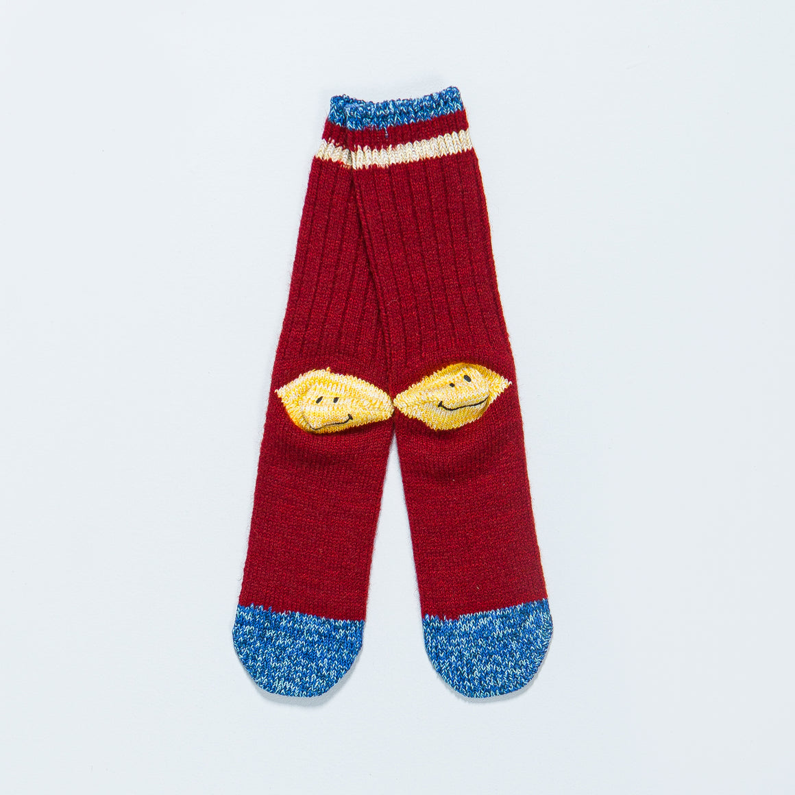 Kapital - 72 Yarns Wool Ivy Smilie Socks - Red - Up There