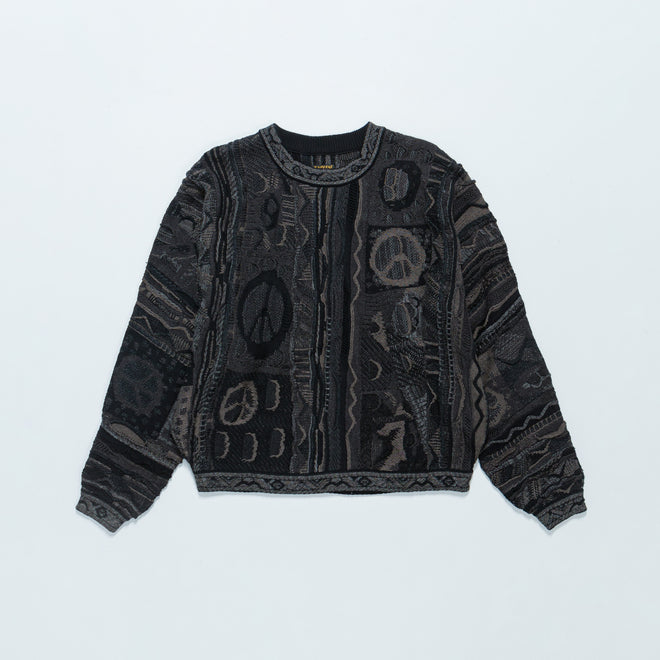 Kapital - 7G Boro Gaudy Crew Sweater - Black - Up There