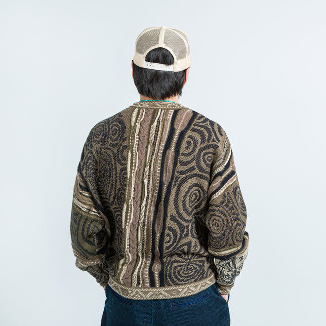 Kapital - 7G Maze Gaudy Crew Sweater - Beige - Up There