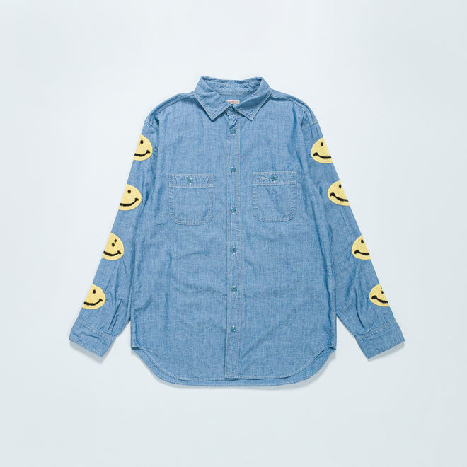 Kapital - Chambray Work Shirt (Smile) - Sax - Up There