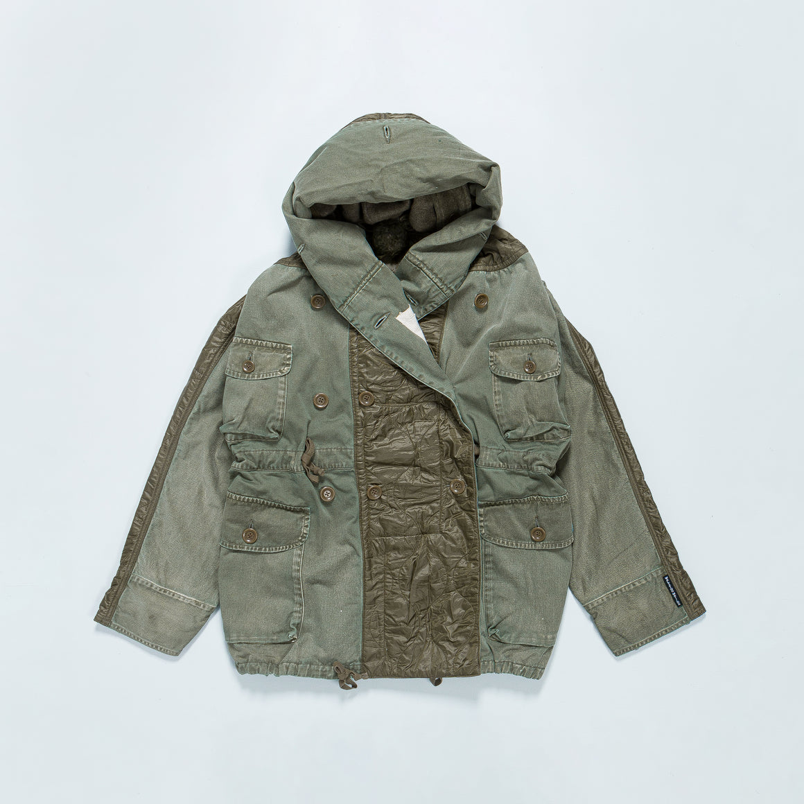 Kapital - Chino x Nylon Quilting Bivouac Ringcoat (Journey Remake) - Khaki - Up There