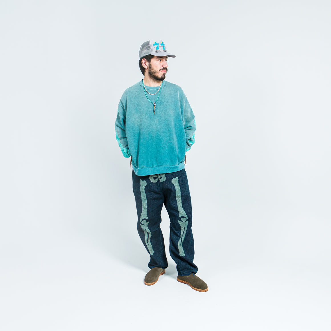 Kapital - Fleecy Knit Bivouac Big Sweat - Turquoise - Up There