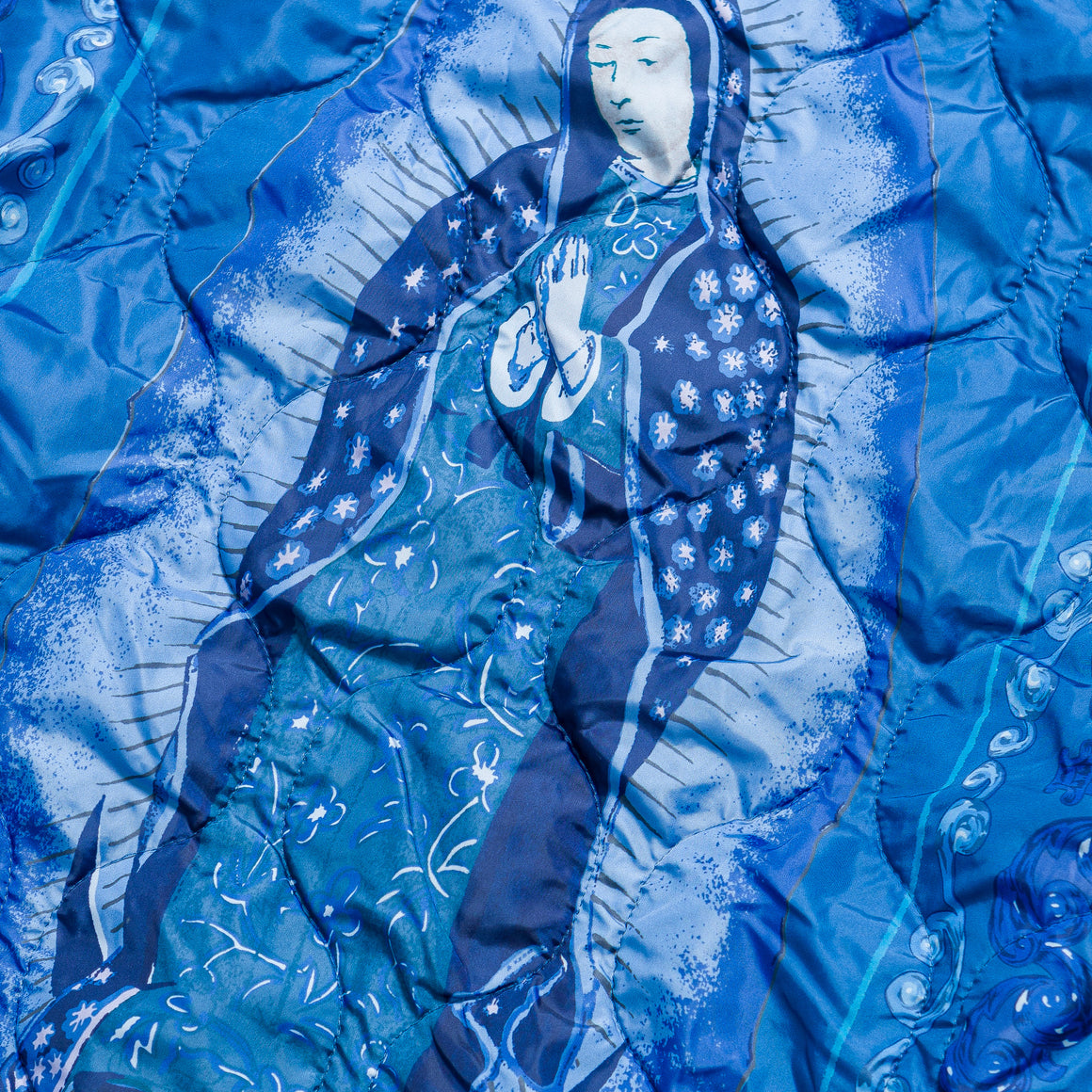 Kapital - Fleece Knit Bivouac Sweat (Virgin Mary) - Indigo/Purple - Up There