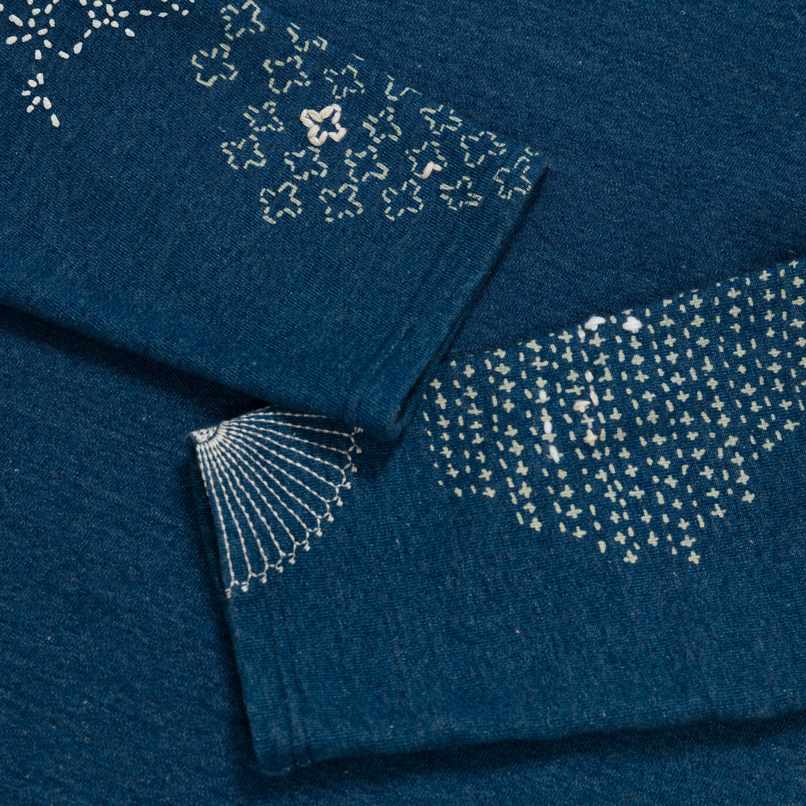 IDG Fleecy Knit Sashiko Patchwork L/S Tee - Indigo - Up There