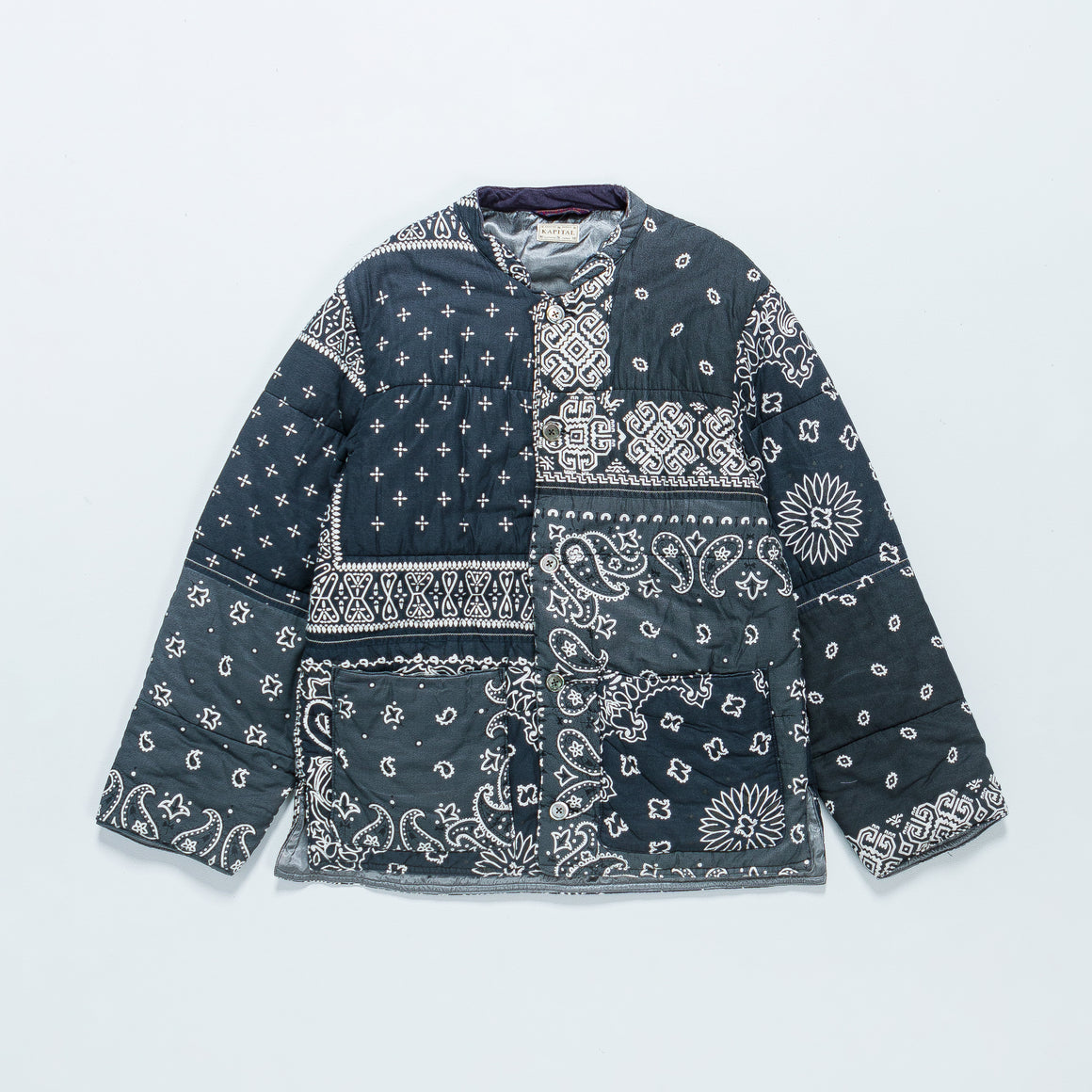 Kapital - Gauze Bandana Patchwork Quilt Samu Work Blouson - Black - Up There