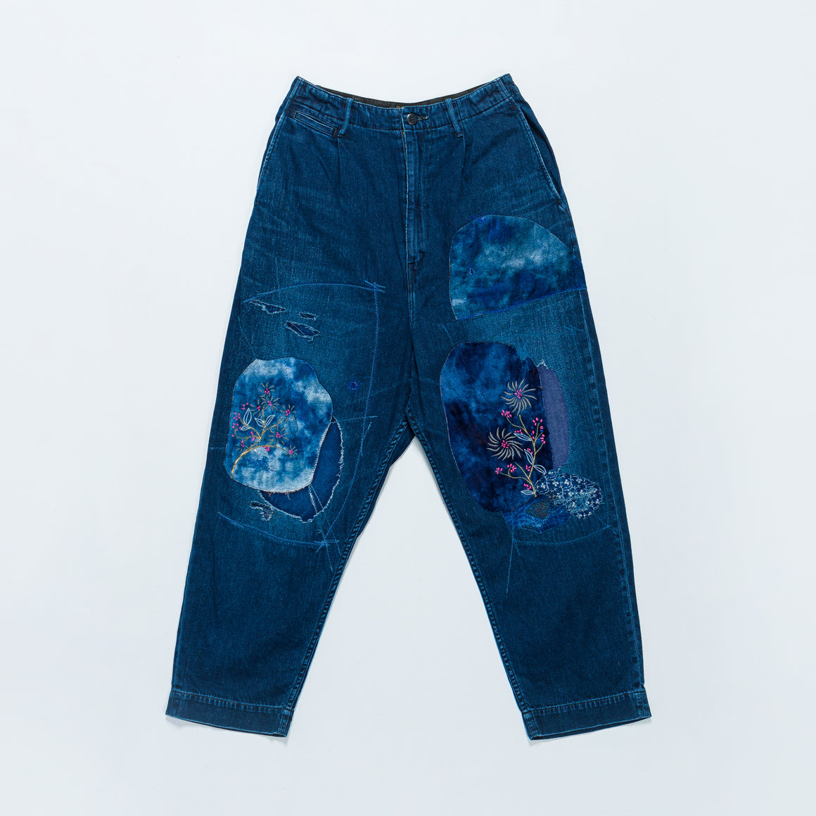 Kapital - IDGxIDG Denim High Waisted Nime Pants (Gypsy Patch Remake) - Indigo - Up There