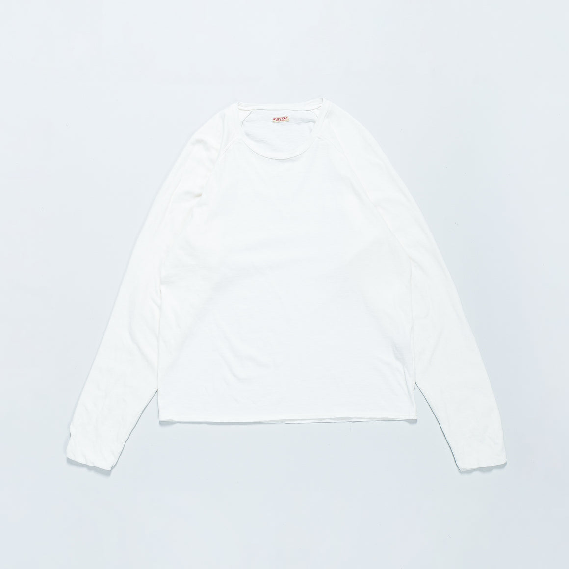 Kapital - Jersey x Gauze Jersey Chef Sleeve Long Sleeve Tee (SMILIE Patch) - White - Up There