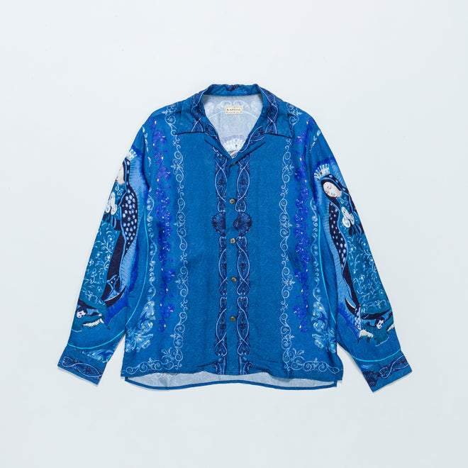 Kapital - Rayon Virgin Mary Open Collar Shirt - Turquoise - Up There