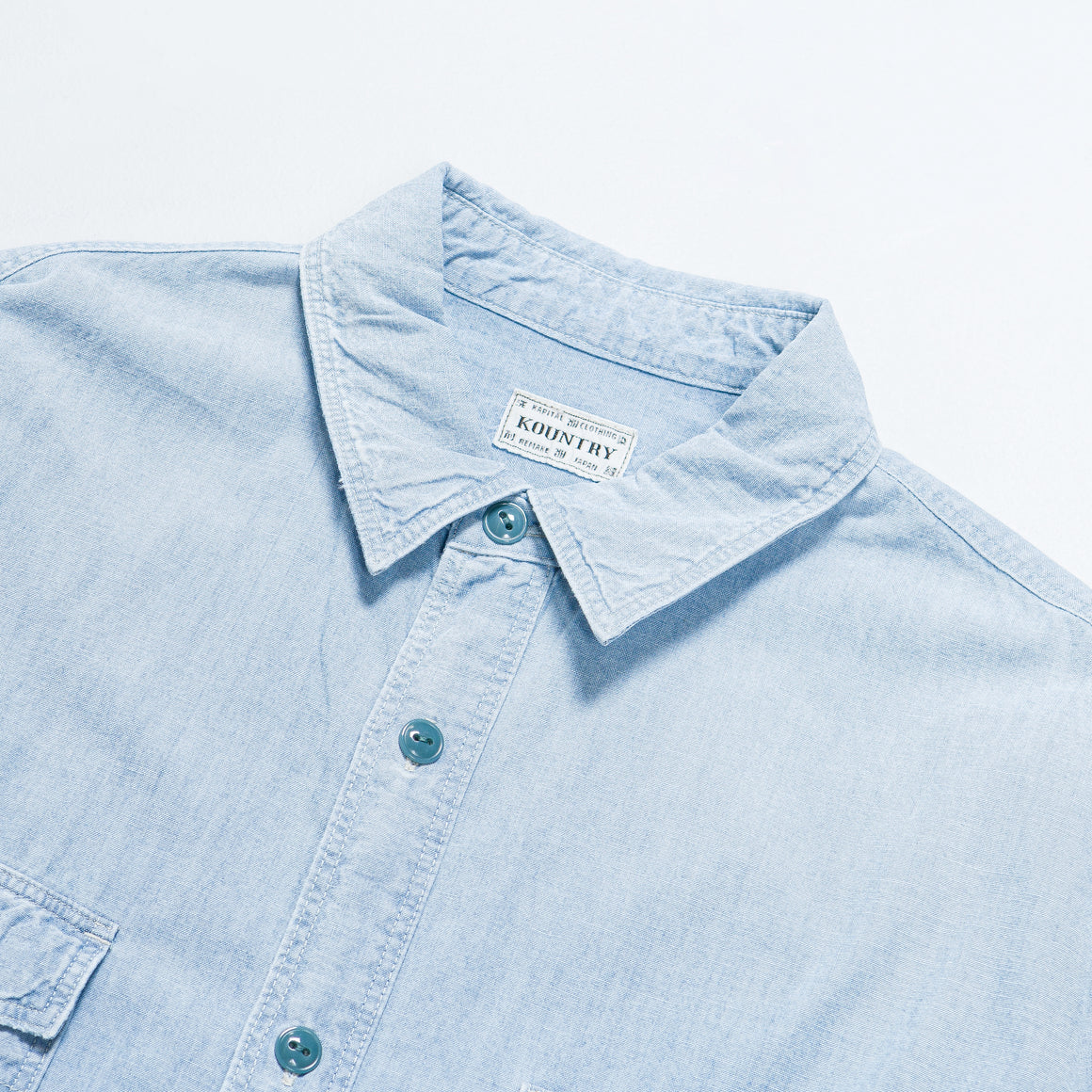 Kapital - Chambray Work Shirt (BONE Embroidery) - Sax - Up There