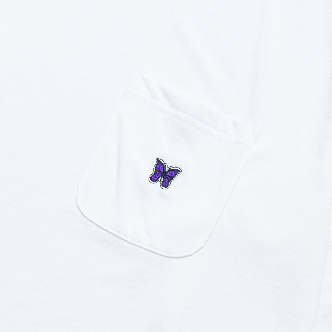 Needles - L/S Crewneck Tee - White Poly Jersey - Up There