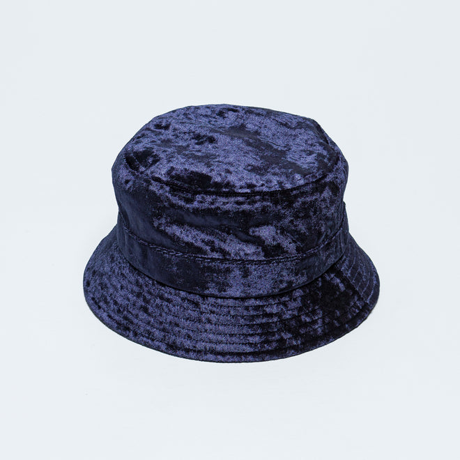Needles - Bucket Hat - Navy Crushed Velour - Up There