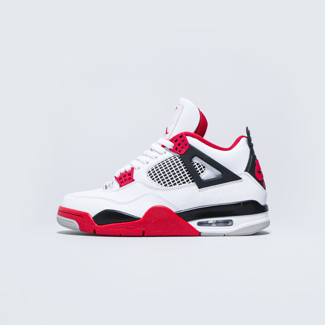 Jordan - Air Jordan 4 Retro - White/Fire Red-Black-Tech Grey - Up There