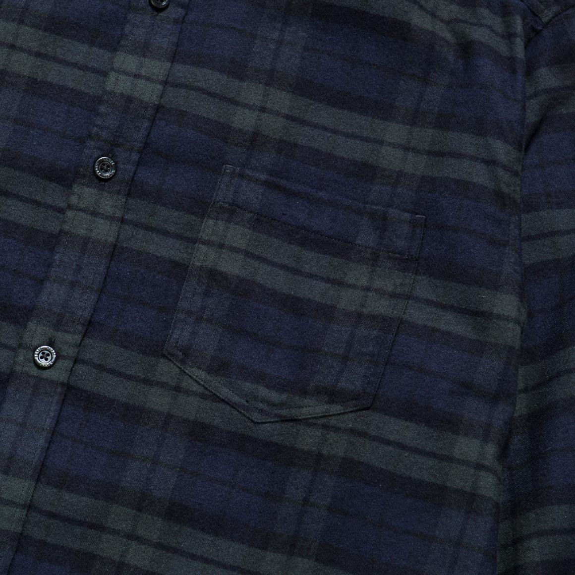 Norse Projects - Anton Brushed Flannel Shirt - Black Watch Check - Up There