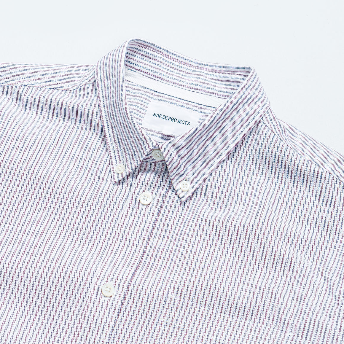 Norse Projects - Anton Oxford Shirt - Eggplant/Dark Navy Stripe - Up There