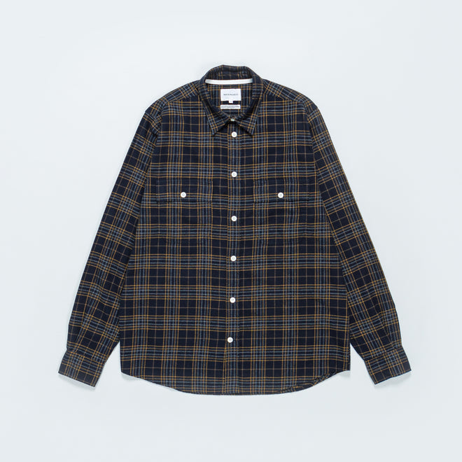 Norse Projects - Villads Brushed Flannel Check - Dark Navy - Up There