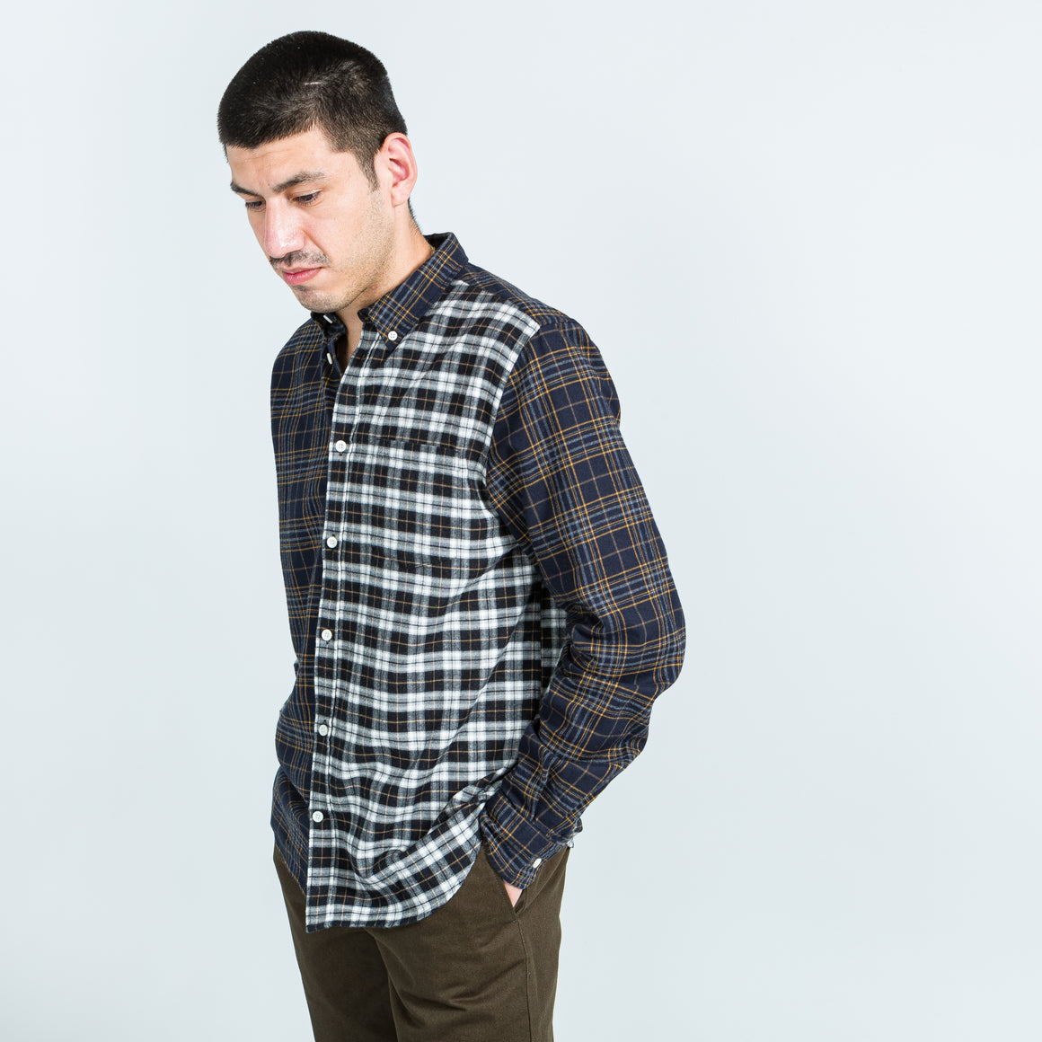 Norse Projects - Osvald Brushed Flannel Mix - Multi Colour - Up There