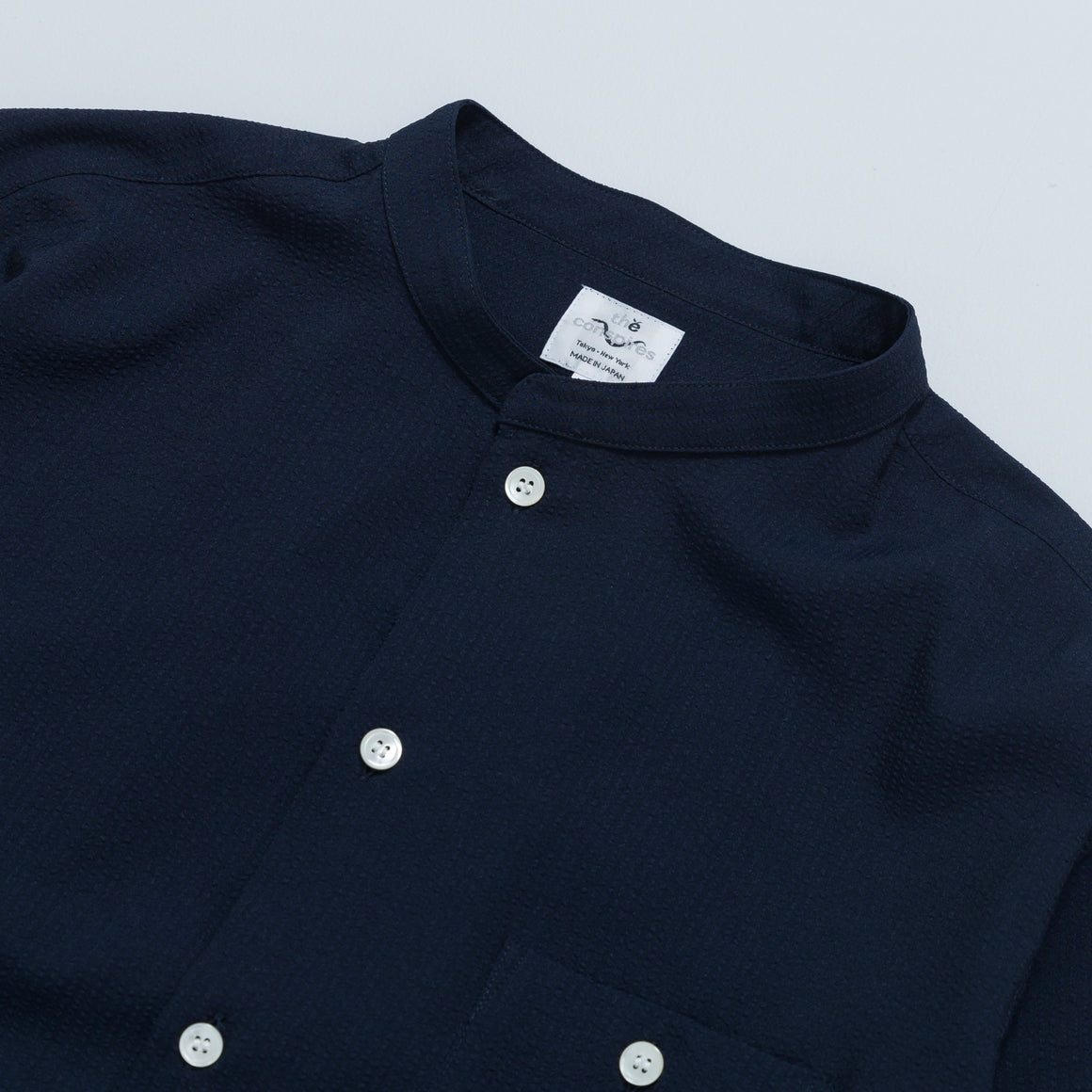 Stand Collar Shirt - Navy - Up There