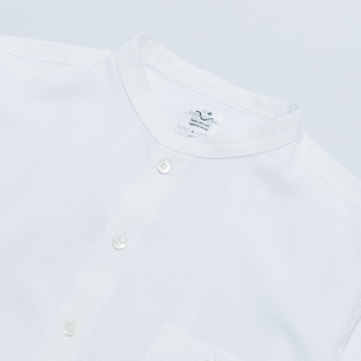 Stand Collar Shirt - White - Up There