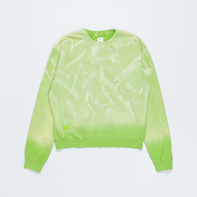 Up There - Potassium Sprayed Crewneck Sweater - Bud Green - Up There