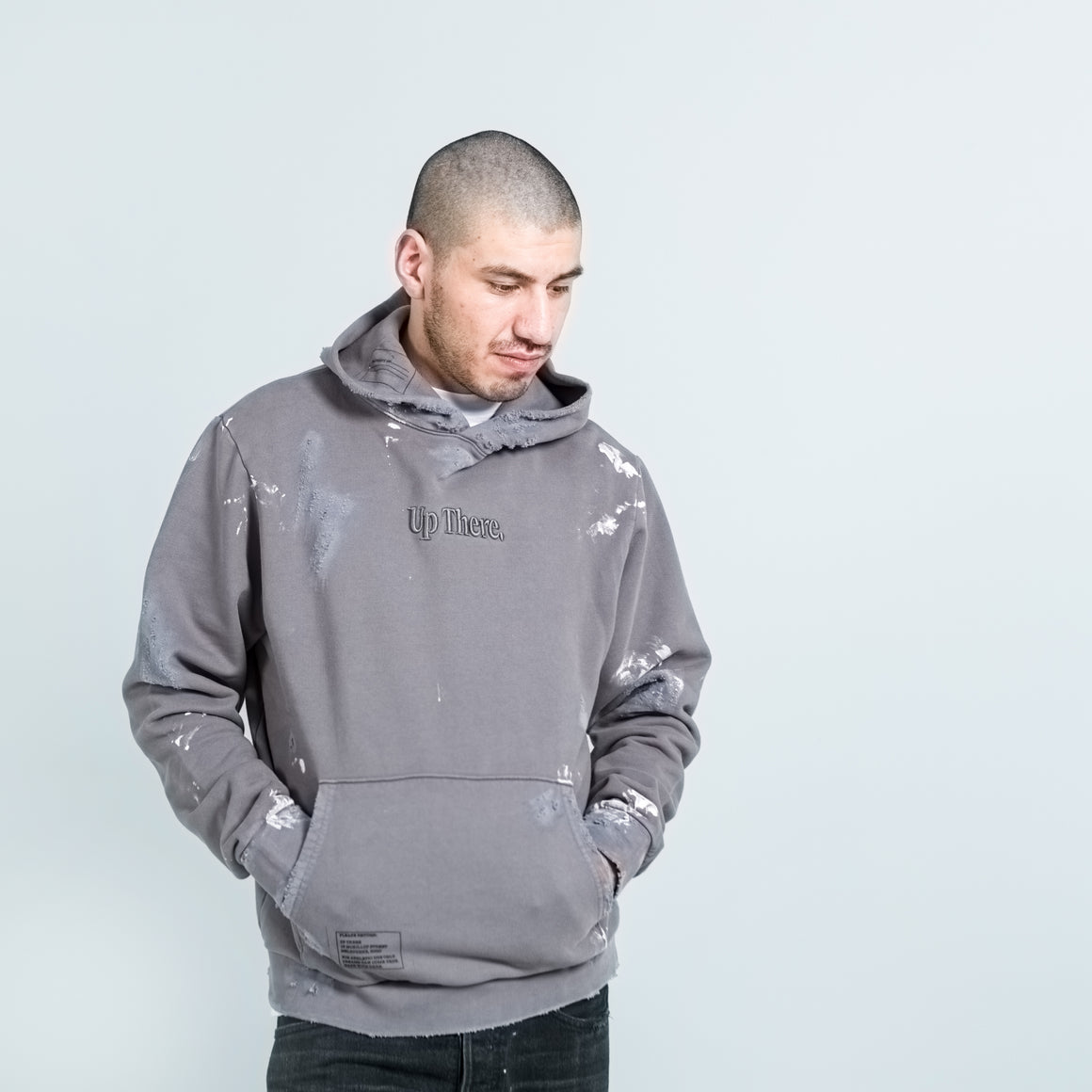 Up There - Heavyweight Pullover Hoodie Remake - Grey - Up There