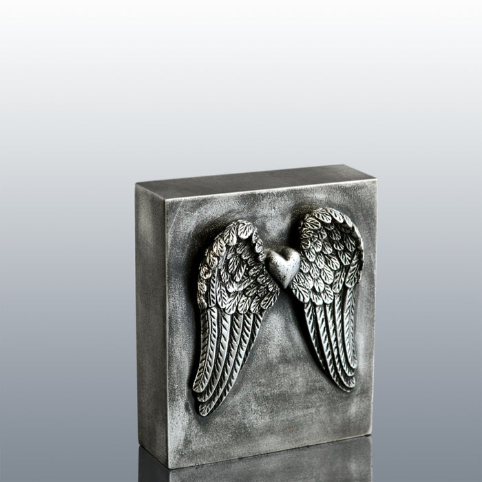 Valentines Day Gift : Wings of Love with Heart (Antique Silver)