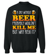 A day without beer wouldn't kill me but why risk it? OFFER